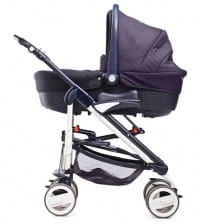 A studio shot of a baby stroller isolated against white background