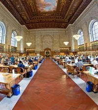 New York, USA - July 10, 2010: people study in the New York Library in New York, USA. New York Public Library is the third largest public library in North America.