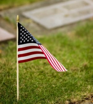 A single United States (American) flag marks an unidentified grave of a veteran who had given his all to save freedom and the rights of others. A wind gently begins unfurling the flag. This is a vertical image, and any grave or partial grave shown is not identifiable. Copy space available.