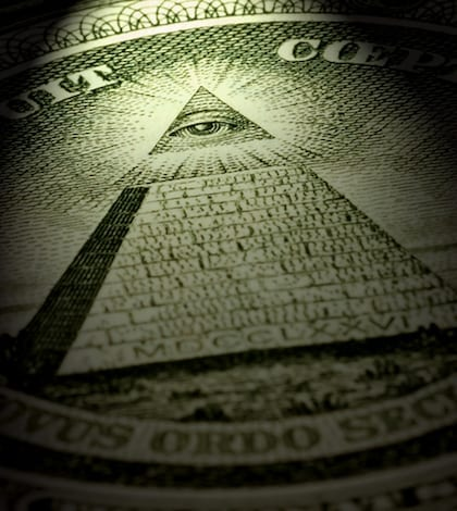 Detail of an american one dollar bill with dramtic light