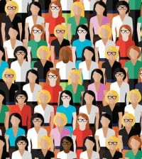 vector seamless pattern with a large group of well- dresses ladies. flat  illustration of business or politics community.