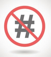 Illustration of a forbidden signal with hash tag