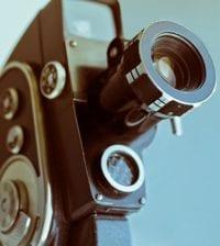 Vintage old super 8 retro movie camera with copy space