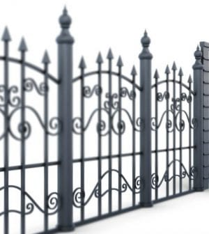 Metal fence and gate on a white background, view angle. 3d rendering.