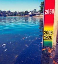 Sea level rise indicator placed on Sydney Harbour. It shows high tide sea level at 1920, 2006 and projected sea level rise for 2050.