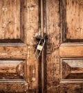 Old locked wood door