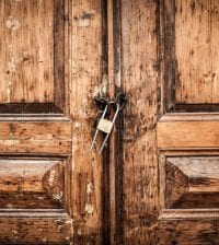 Old locked wood door