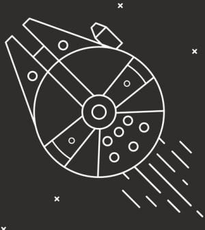 Spaceship in outer space. Vector illustrations on black background