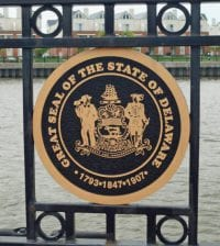 Wilmington, Delaware - May 10, 2014: The official seal of the State of Delaware displayed on a bridge in the city of Wilmington.