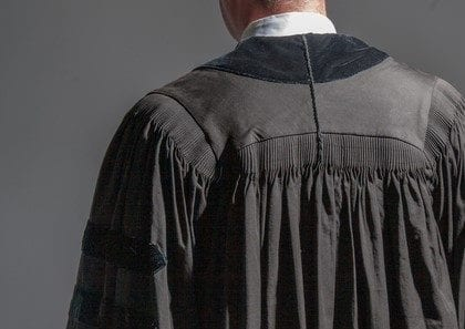 Back view of a young judge
