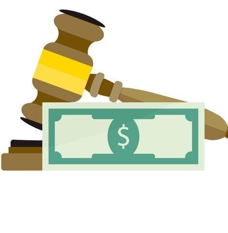 Corrupt Court and Justice. Vector dollar corrupt, bribery for illegal guilt, criminal decision and verdict illustration