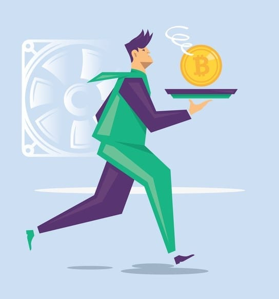Businessman is carrying a fresh bitcoin on a tray