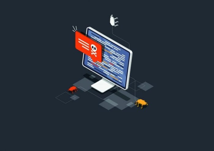Isometric Virus protection concept. Internet security. Cyber attack on the computer. Computer protection by antivirus software. Protective laptop and shield. Vector illustration.