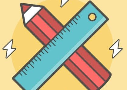 pencil and ruler crossed, vector flat line style illustration