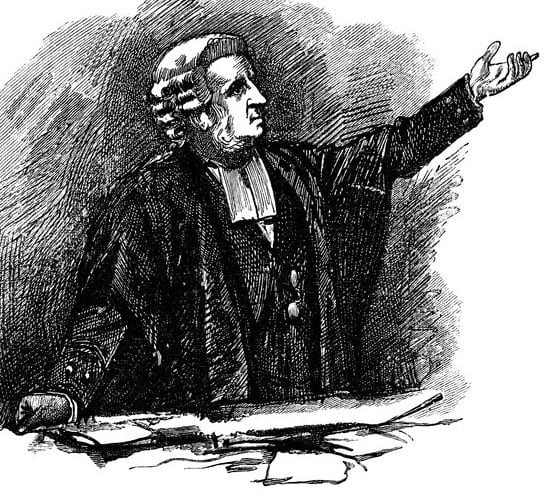 Lawyer pleading his case - Scanned 1884 Engraving
