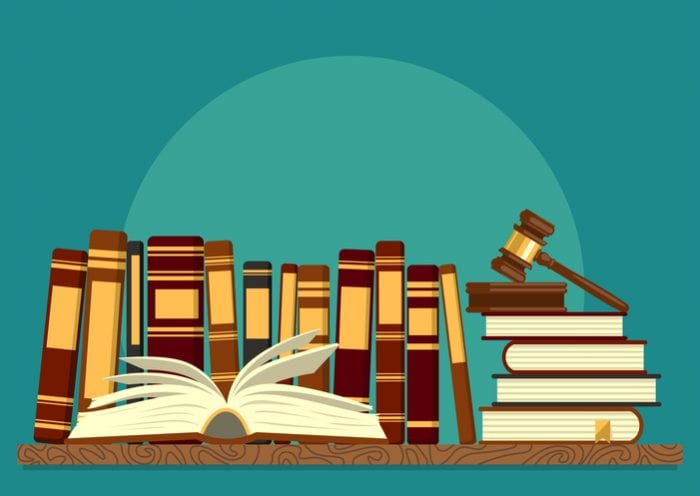 Books on shelf with open book and judge gavel on teal background. Legal, juridical education. Jurisprudence studying, law theory. Vector illustration.