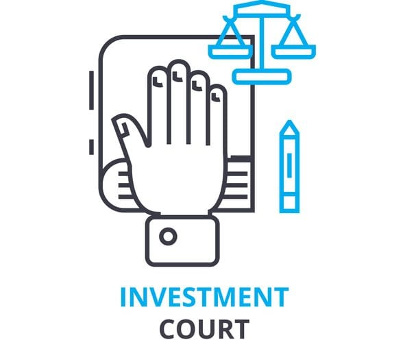 investment court concept, outline icon, linear sign, line pictogram, , flat vector, illustration