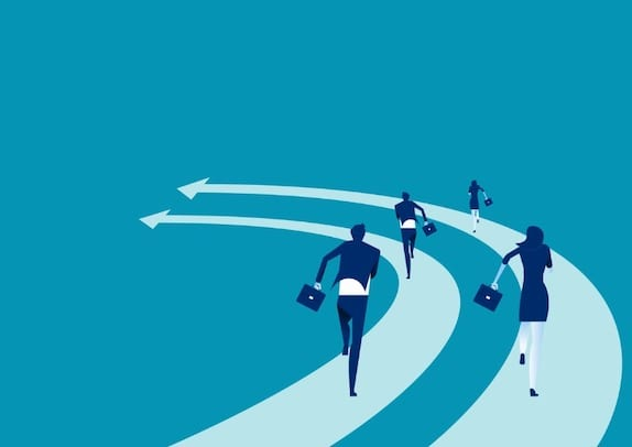 business-people-run-on-the-arrows-concept-business-competition-vector-vector-id1009439428