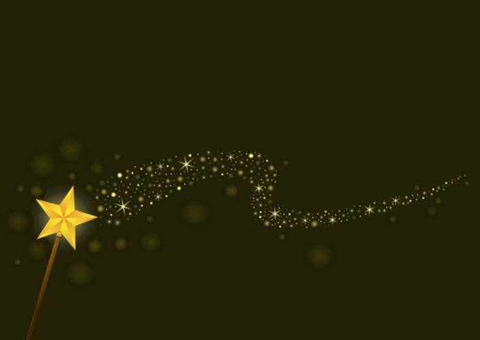 Star shape magic wand with magical glittering trail. No mesh gradient. can be edited in illustrator or freehand. high resolution jpg and high quality pdf included