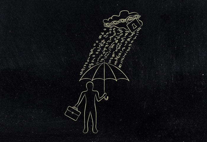 data breah protection concept: business man with umbrella under a rain of binary code from digital cloud with lock & chain