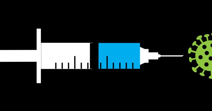 Vector illustration of a syringe pointing of at a green coronavirus icon.