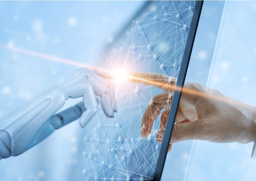 hands-of-robot-and-human-touching-on-global-virtual-network-future-picture-id1051617224
