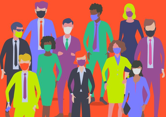 Flat style Vector Illustration, set of diverse Professional or Business characters. businessman, businesswoman, busy, Occupation, commuter, finance, Covid-19, pandemic, protective face mask,