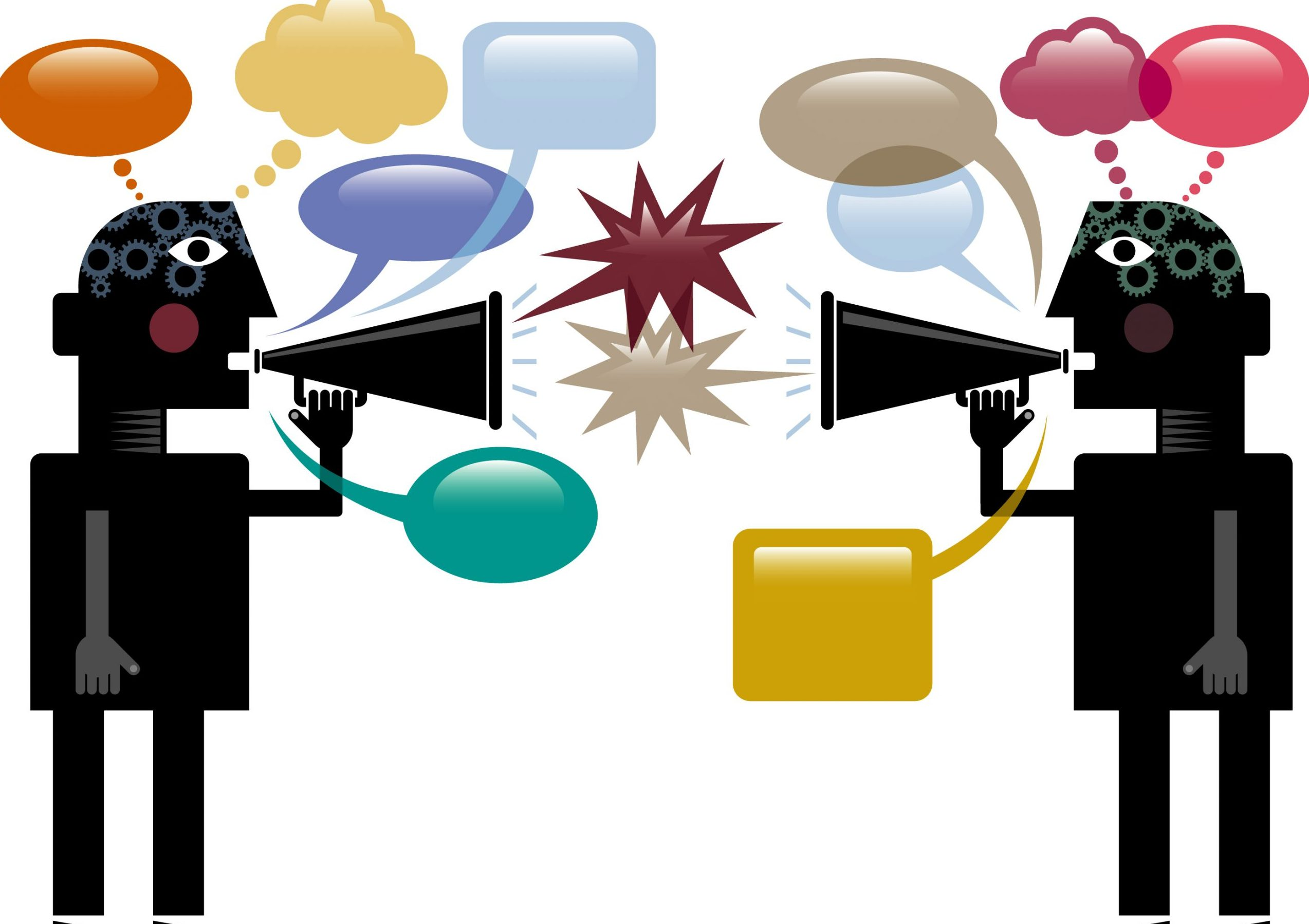 Two stylized figures with megaphones arguing with each other.